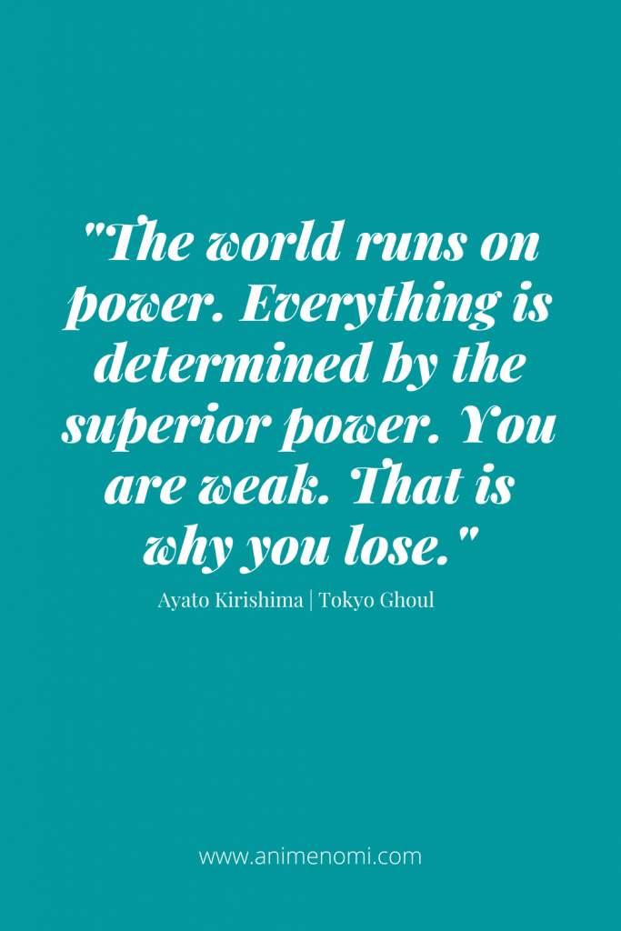 The world runs on power. Everything is determined by the superior power. You are weak. That is why you lose.